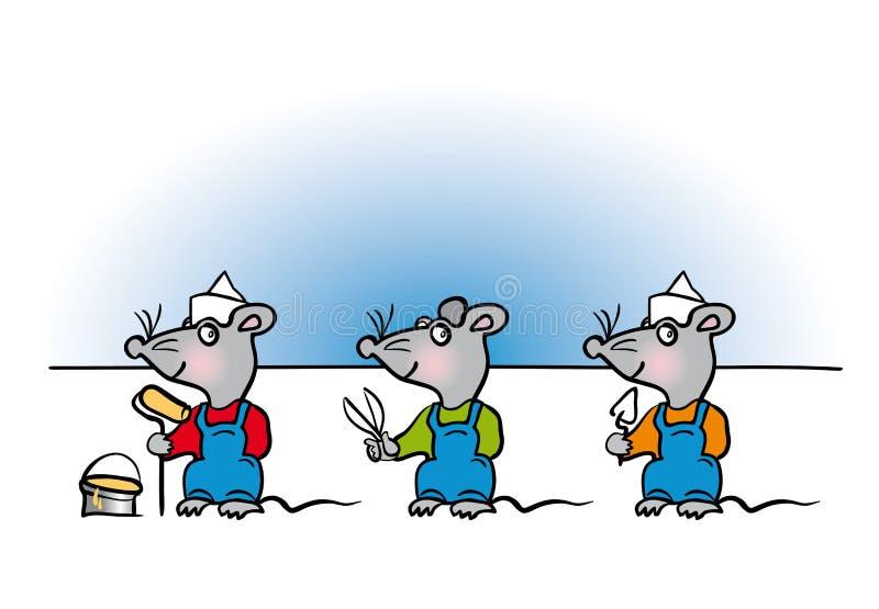 Dessin animé de bricoleur de souris illustration stock