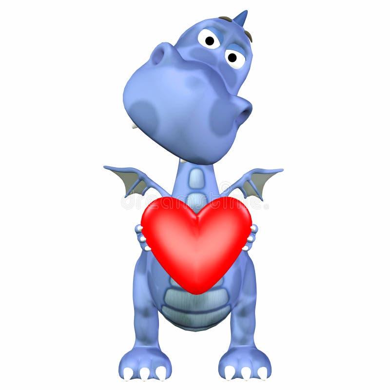 Dessin animé de dragon dans l'amour illustration libre de droits