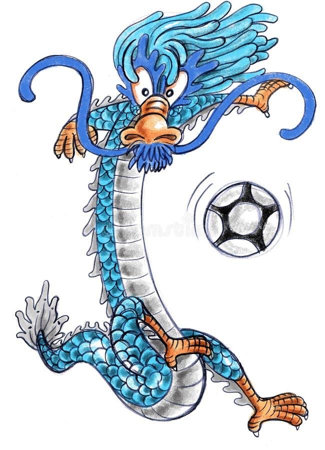 Dessin animé de dragon jouant au football illustration de vecteur