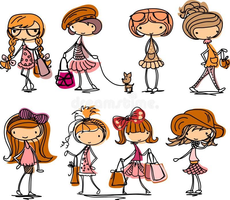 Dessin animé de fille de mode, vecteur illustration de vecteur