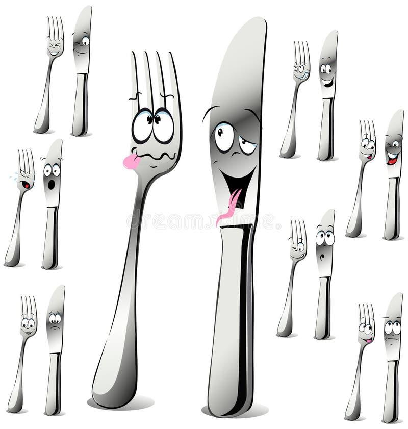 Dessin animé de fourchette et de couteau illustration de vecteur
