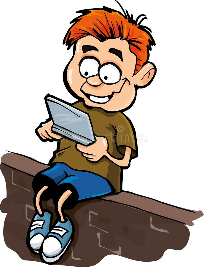 Dessin animé de garçon jouant un gamer d'ordinateur tenu dans la main illustration stock
