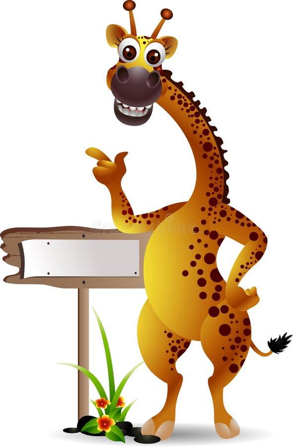 Dessin animé de giraffe avec le panneau blanc illustration de vecteur