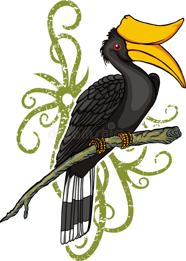 Dessin animé de Hornbill image libre de droits