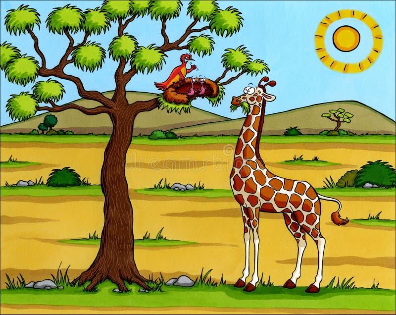 Dessin animé de l'Afrique - giraffe avec des oiseaux image stock