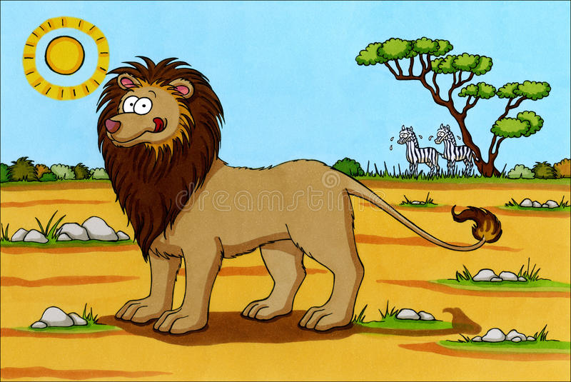 Dessin animé de l'Afrique - lion avec des zèbres photos libres de droits