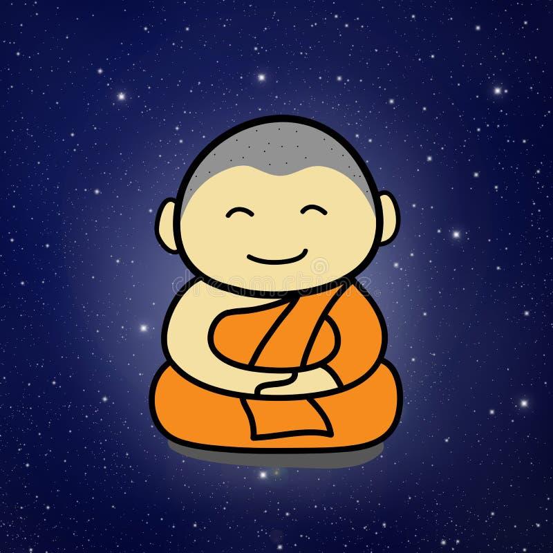 Dessin animé de moine bouddhiste illustration libre de droits