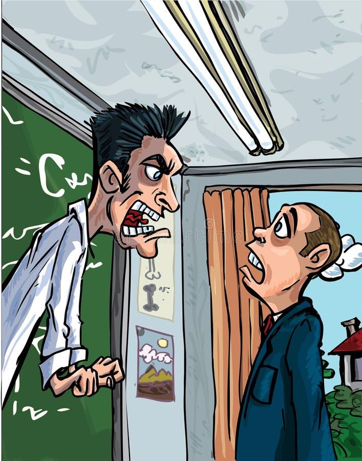 Dessin animé de professeur criant à une pupille illustration libre de droits