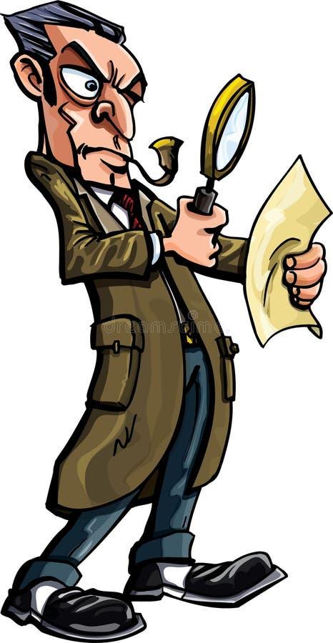 Dessin animé de Sherlock Holmes avec la loupe illustration stock