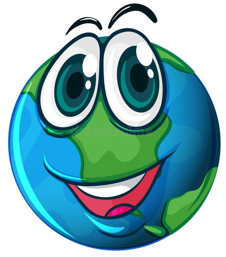 Dessin animé de sourire 2 de la terre de planète illustration de vecteur