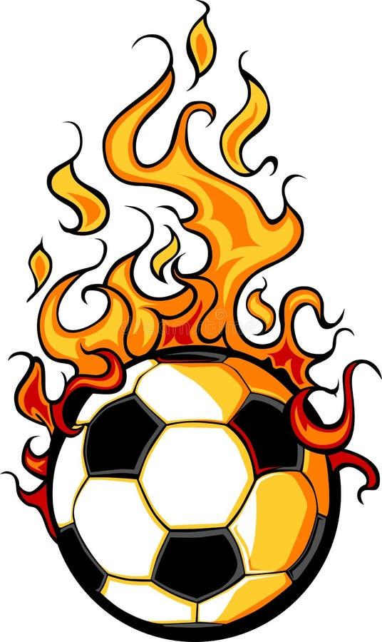 Dessin animé flamboyant de bille du football illustration de vecteur