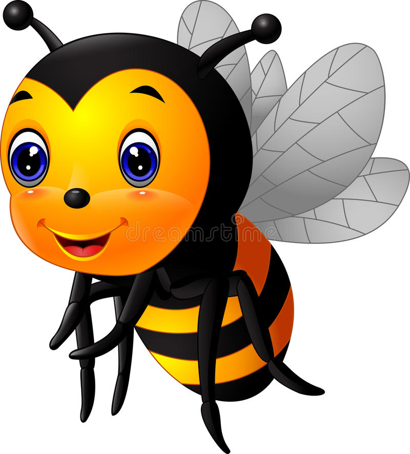 Dessin animé mignon d'abeille illustration de vecteur