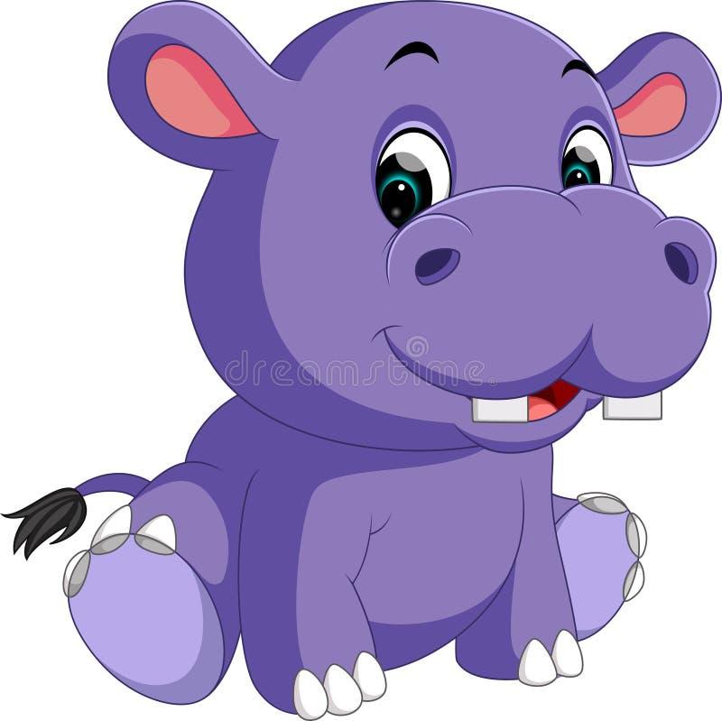 Dessin anim mignon d 39 hippopotame illustration de vecteur - Dessin d hippopotame ...