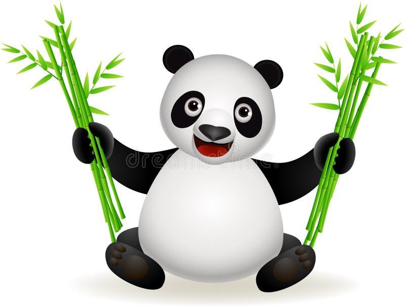 Dessin animé mignon de panda avec le bambou illustration stock