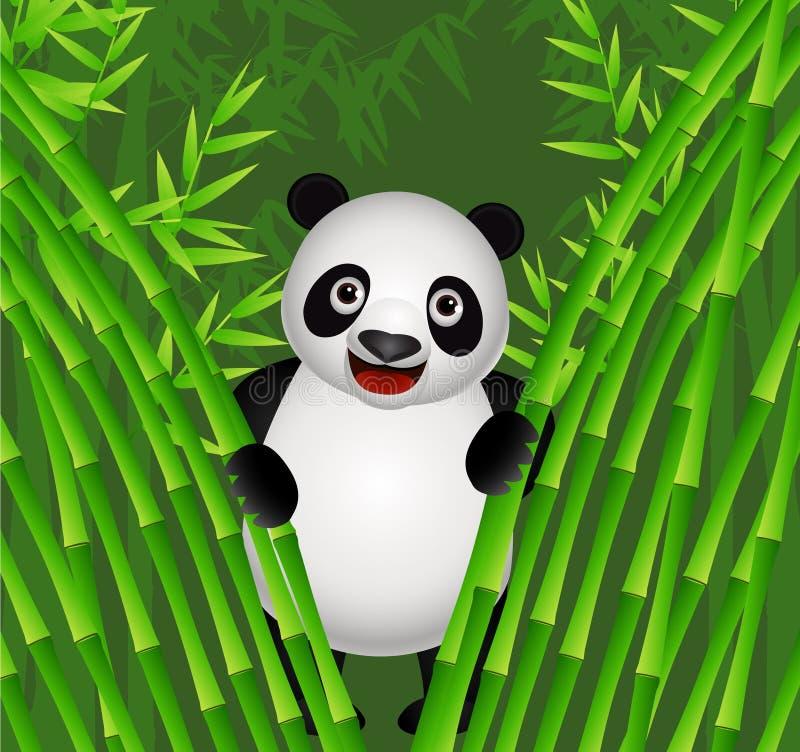 Dessin animé mignon de panda dans la nature illustration de vecteur