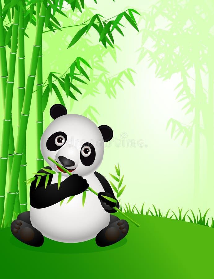 Dessin animé mignon de panda dans la nature illustration libre de droits