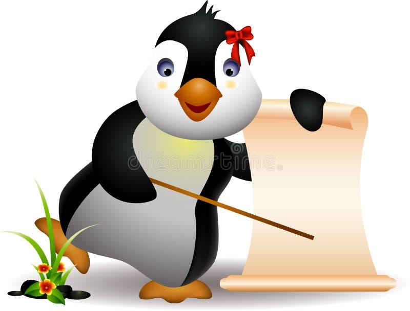 Dessin anim mignon de pingouin avec le signe blanc illustration stock illustration du froid - Dessin anime les pingouins ...