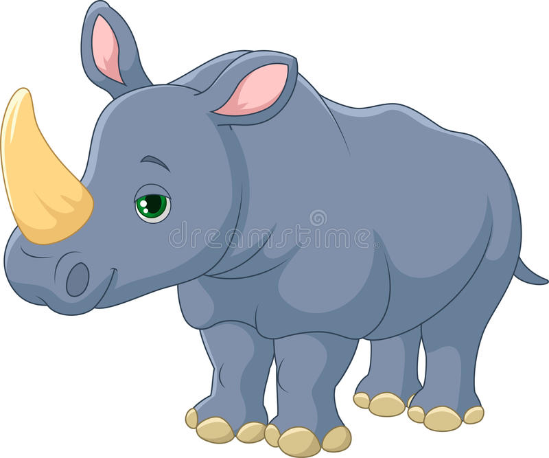 Dessin animé mignon de rhinocéros illustration stock