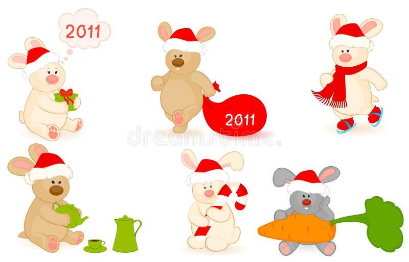 Dessin animé peu de lapin de jouet avec des cadeaux illustration de vecteur