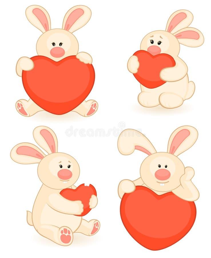 Dessin animé peu de lapin de jouet avec le coeur illustration stock