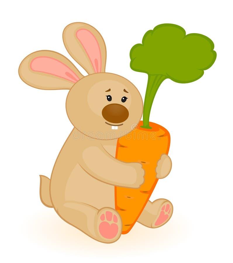 Dessin animé peu de lapin de jouet avec le raccord en caoutchouc illustration libre de droits