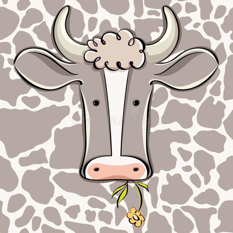 Dessin animé principal de vecteur de vache. illustration stock