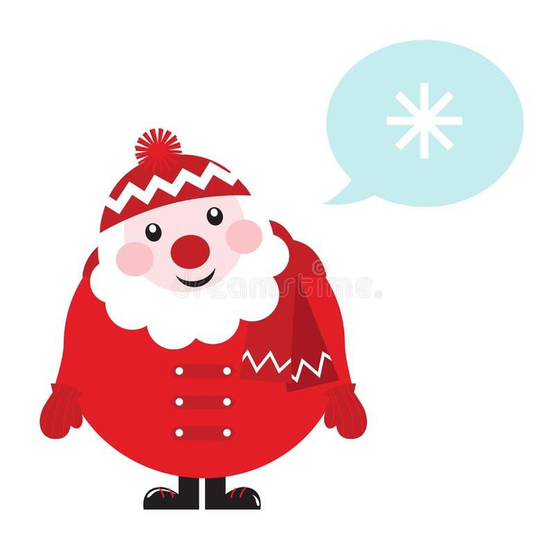 Dessin animé rétro Santa pensant à l'hiver. illustration libre de droits