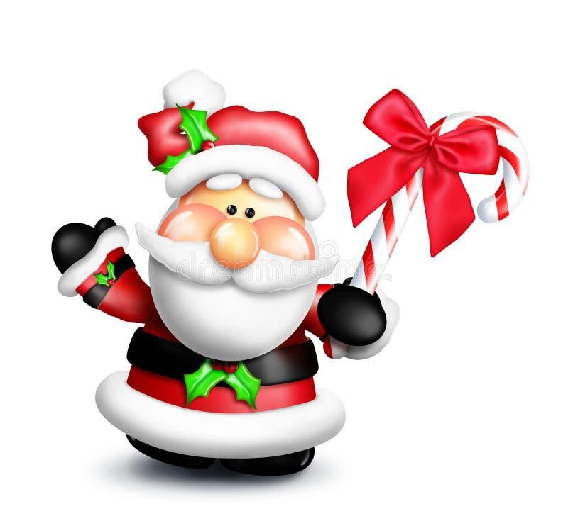Dessin animé Santa avec la canne de sucrerie illustration de vecteur