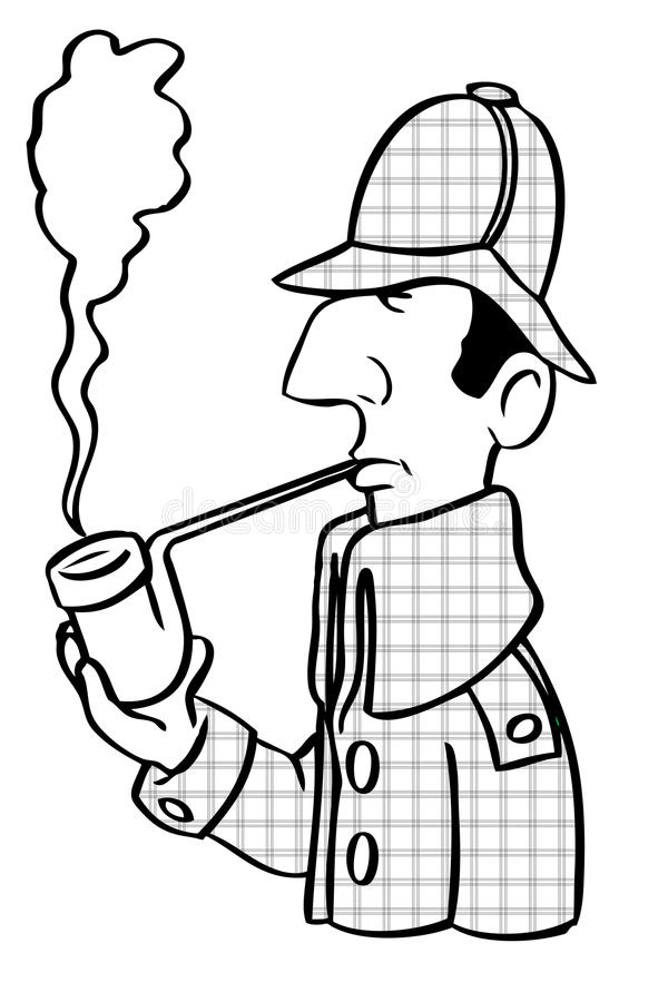 Dessin animé Sherlock Holmes illustration libre de droits