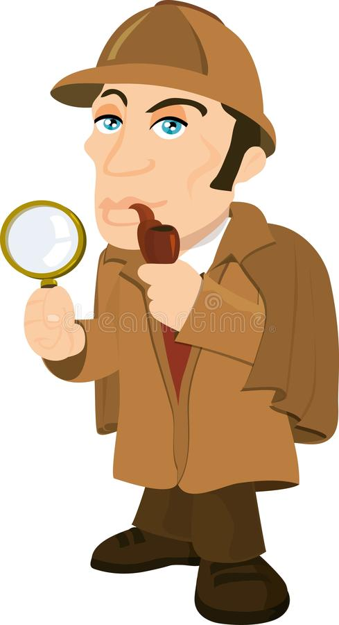 Dessin animé Sherlock Holmes avec une loupe illustration stock