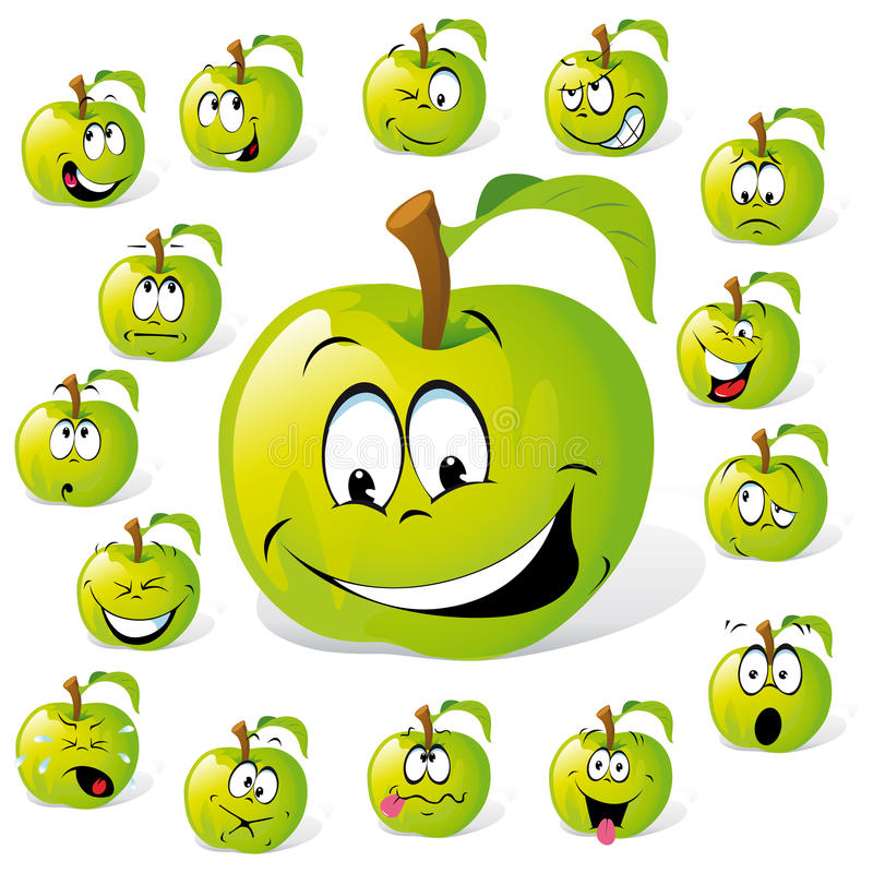 Dessin animé vert de pomme illustration stock