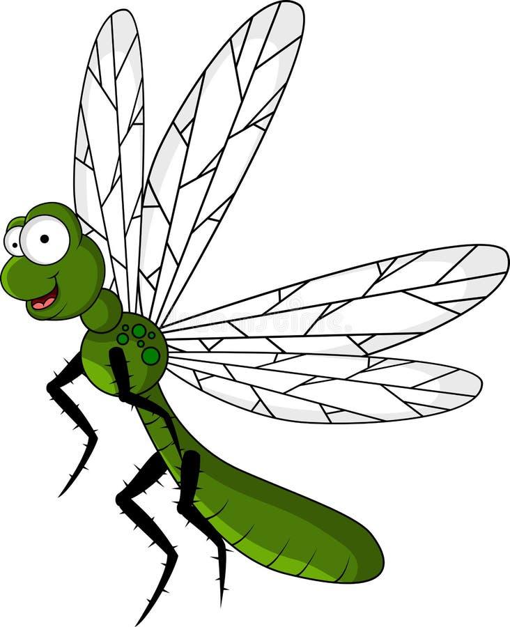 Dessin animé vert drôle de libellule illustration stock