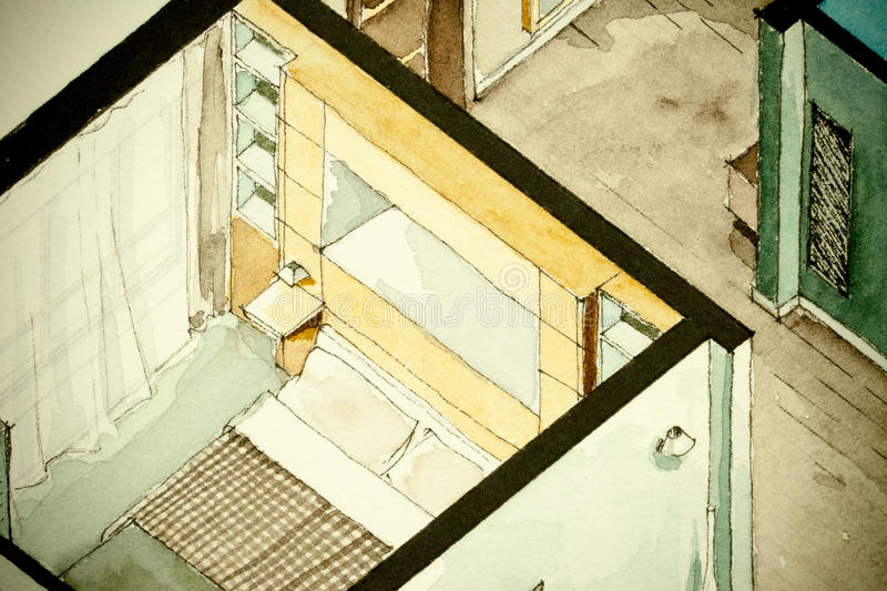 Dessin architectural partiel isométrique d'aquarelle de plan d'étage d'appartement illustration libre de droits