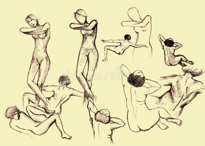 Dessin artistique de personnes illustration stock