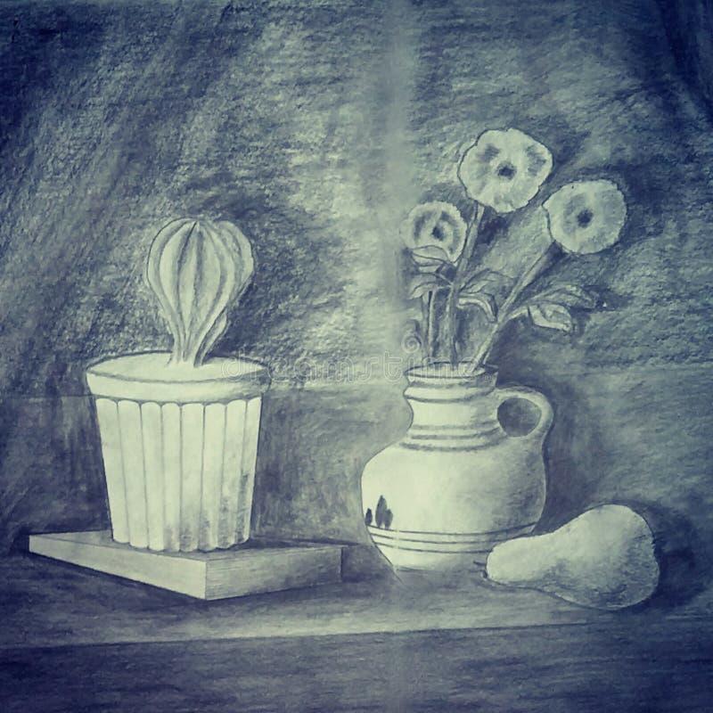 Dessin au crayon avec des ombres faites par une 5ème niveleuse - original illustration stock