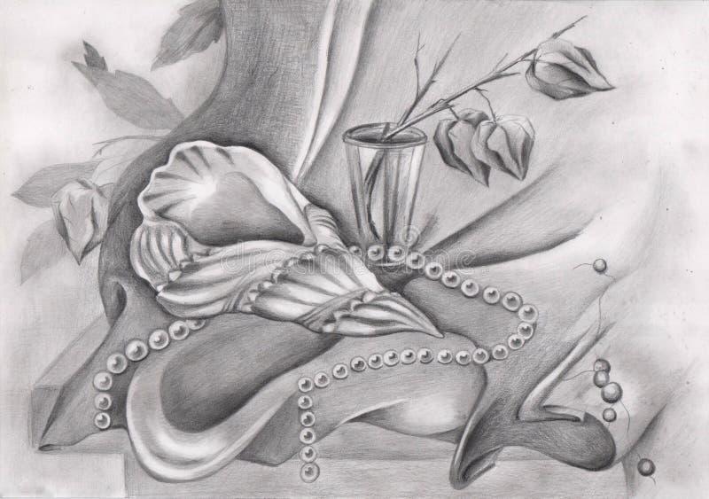 Dessin au crayon avec le coquillage et les perles illustration libre de droits