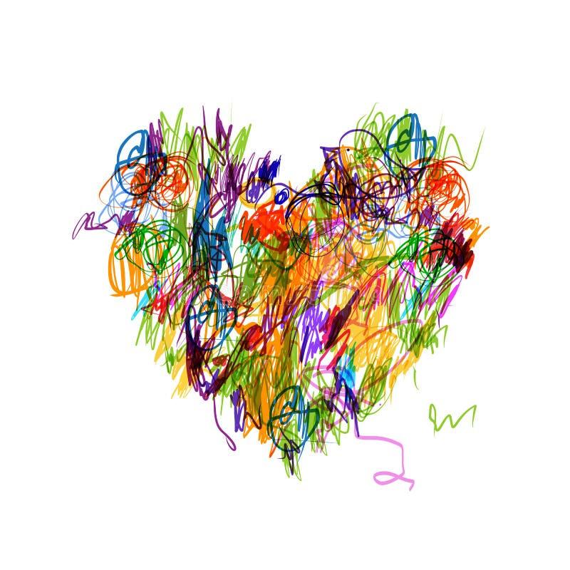 Dessin au crayon coloré de forme de coeur pour le votre illustration de vecteur