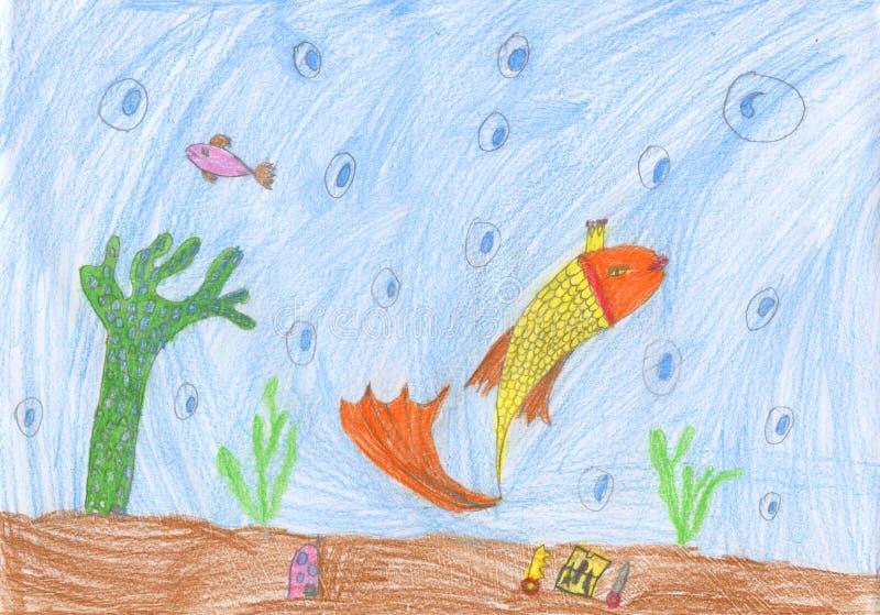 Dessin au crayon d'enfants d'une vie sauvage sous-marine de poissons d'or illustration libre de droits