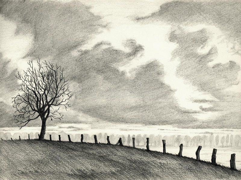 Dessin au crayon d'horizontal illustration stock