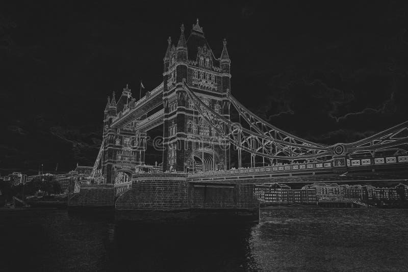 Dessin au crayon d'un pont de tour sur le fond noir Ske de crayon image libre de droits