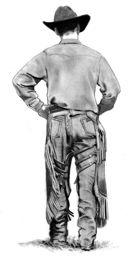 Dessin au crayon de cowboy avec des gars illustration de vecteur