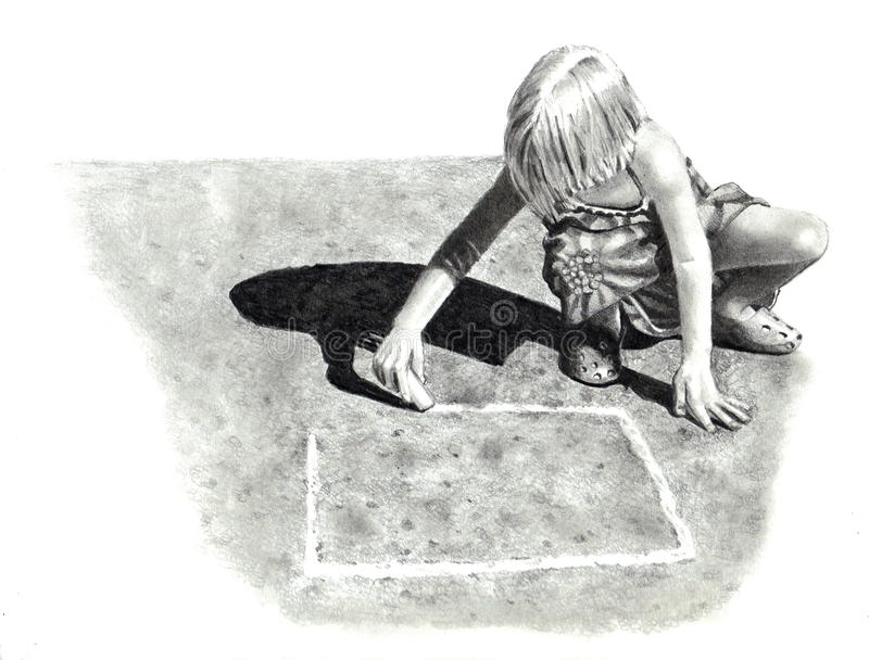 Dessin au crayon de fille jouant le jeu de marelle illustration libre de droits