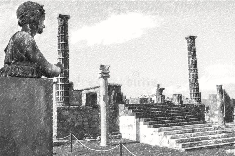 Dessin au crayon de Pompeii, statue romaine antique d'Apollo illustration stock