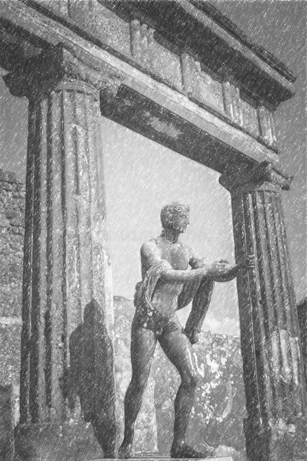 Dessin au crayon de Pompeii, statue romaine antique d'Apollo illustration de vecteur