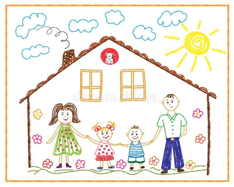 Dessin au crayon des enfants sur la famille de ventre, maison, amitié, amour illustration de vecteur