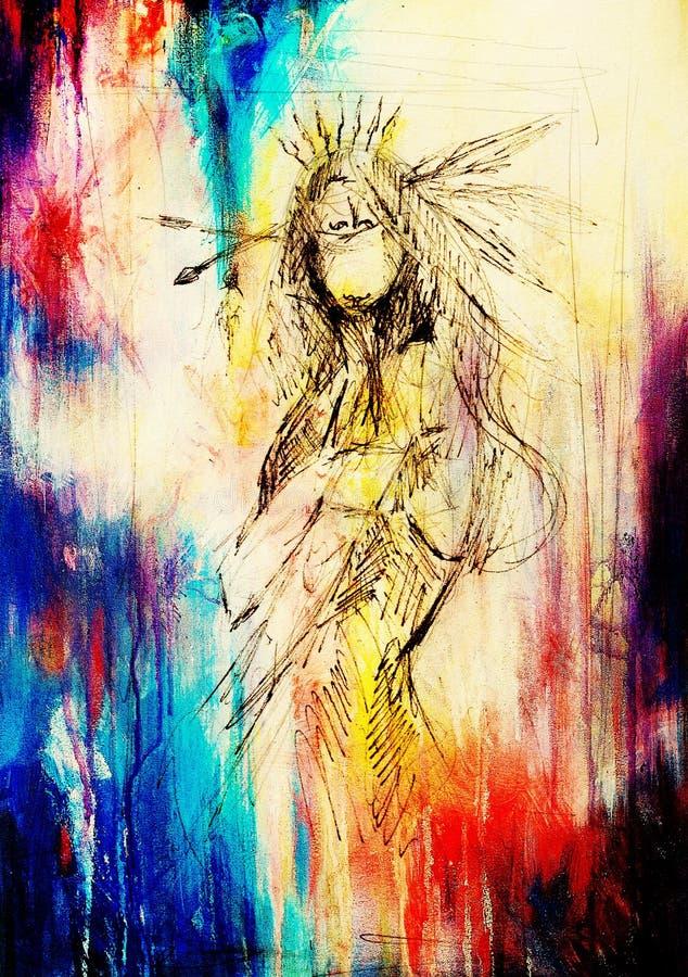 dessin au crayon sur le papier la femme indienne et les plumes dans les cheveux effet de. Black Bedroom Furniture Sets. Home Design Ideas