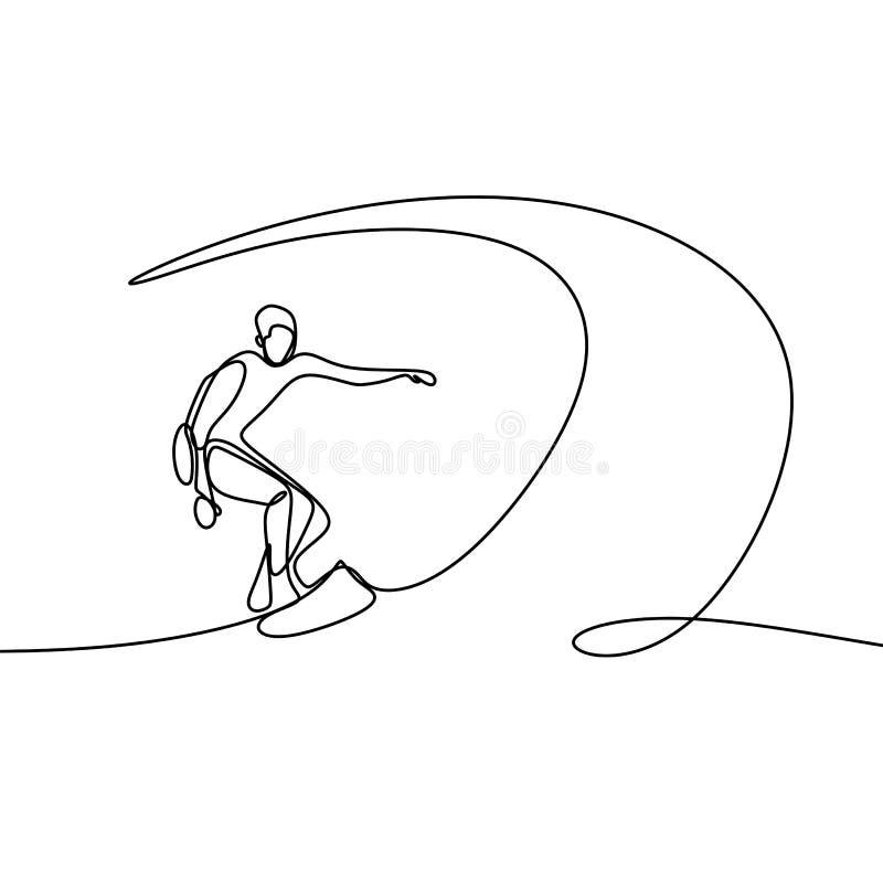 Dessin au trait été un avec la personne faisant surfer sur la plage illustration de vecteur