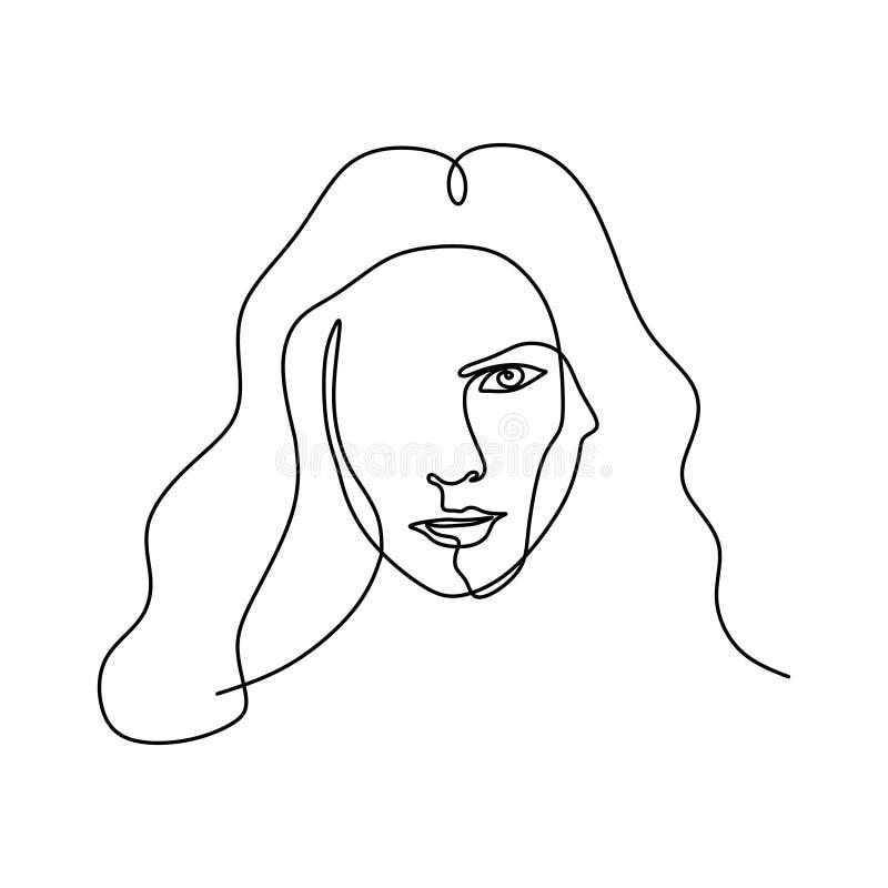 Dessin au trait abstrait visage un Style continu minimalistic de portrait illustration de vecteur