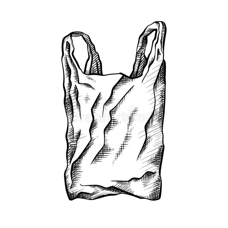 Dessin au trait blanc noir d'un sachet en plastique pollution environnementale ?cologique de photo de crise Dessin de griffonnage illustration stock