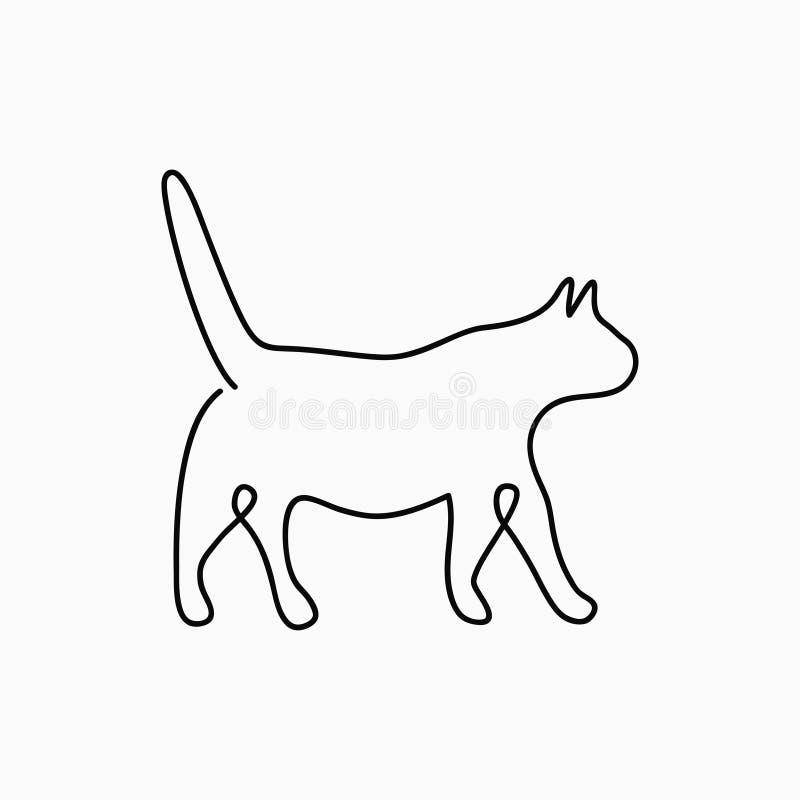 Dessin au trait chat un Ligne continue animal de compagnie Illustration tirée par la main pour le logo, l'emblème et la carte de  illustration de vecteur